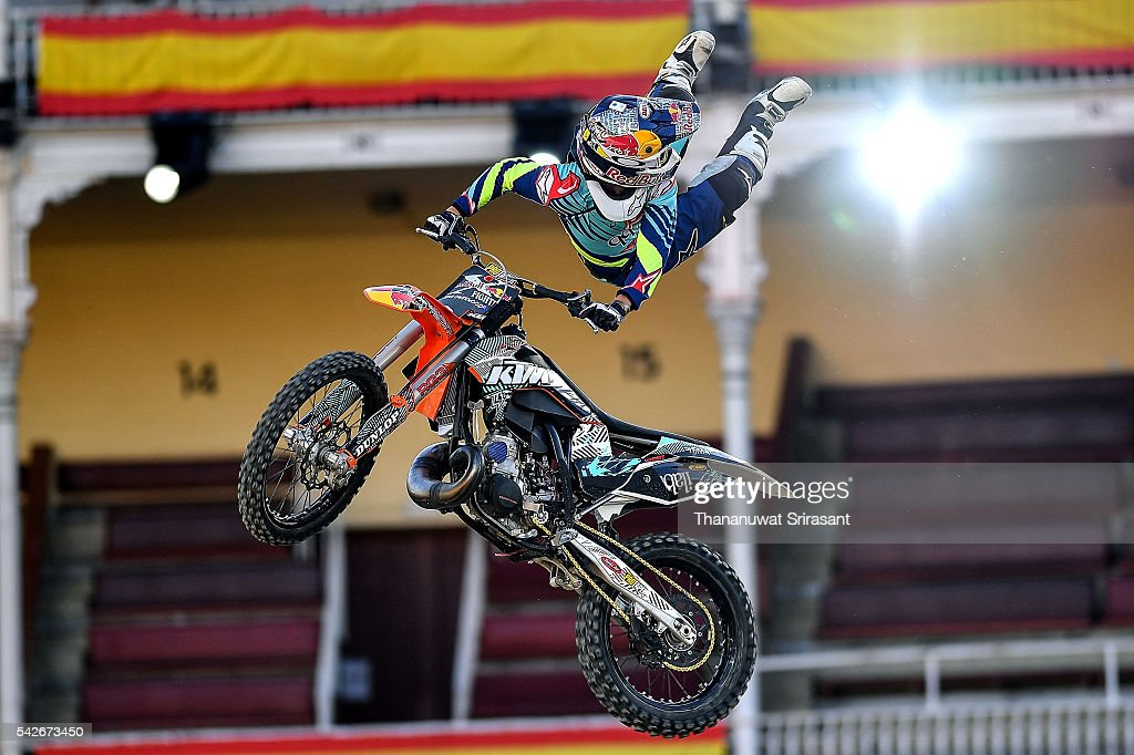Levi Sherwood of New Zealand practices during qualifying for Red Bull X Fighter on June 23, 2016 in Madrid, Spain.