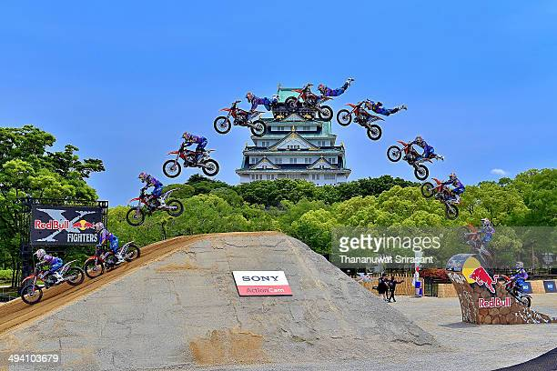 Levi Sherwood of New Zealand with KTM SX250 competes during qualifying for the Red Bull XFighters World Tour on May 24 2014 in Osaka Japan