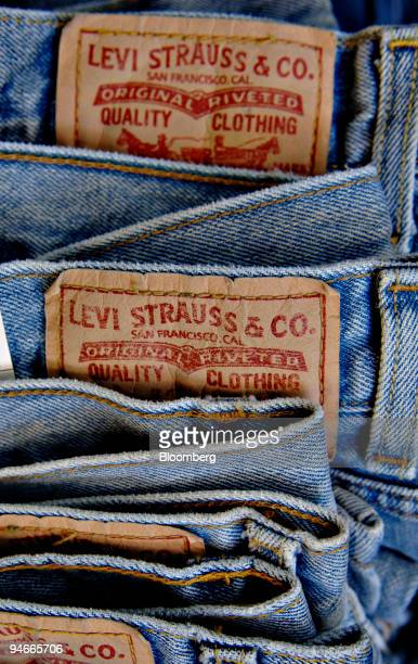 Levi Strauss jeans sit on display in a retail store in New York Tuesday July 11 2006 Levi Strauss Co the closely held maker of jeans and Dockers...