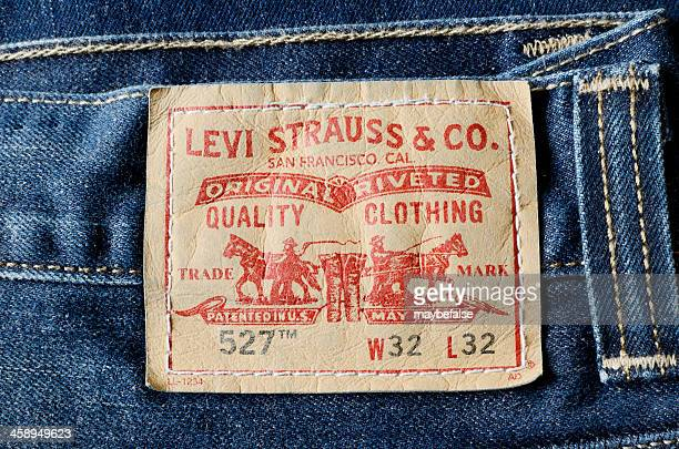 Levi Strauss label on a pair of mens blue jeans
