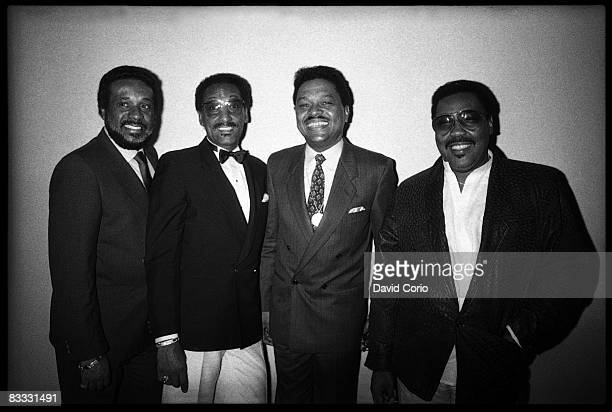 Levi Stubbs Abdul 'Duke' Fakir Ronaldo 'Obie' Benson and Lawrence Payton of the Four Tops pose for a photo at the Limelight club on June 13 1985 in...