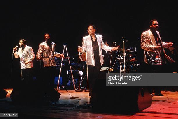 Levi Stubbs Renaldo 'Obie' Benson Abdul 'Duke' Fakir and Lawrence Payton of the Four Tops perform on stage in 1989 in Munich Germany