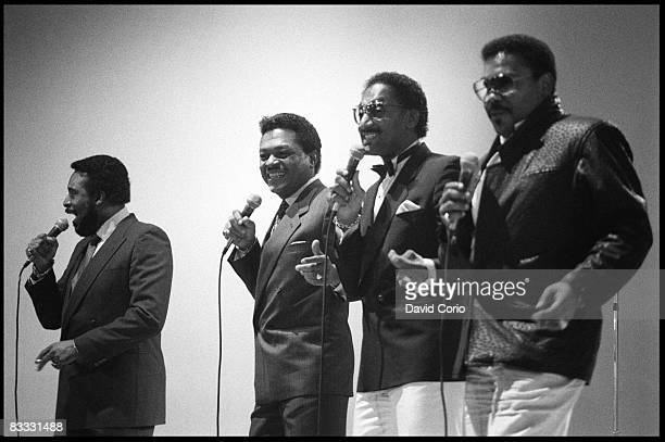 Levi Stubbs Ronaldo 'Obie' Benson Abdul 'Duke' Fakir and Lawrence Payton of the Four Tops perform at the Limelight club on June 13 1985 in New York...