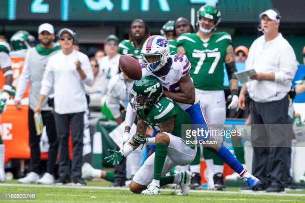 Levi Wallace of the Buffalo Bills breaks up a pass intended for Robby Anderson of the New York Jets during the fourth quarter at MetLife Stadium on...