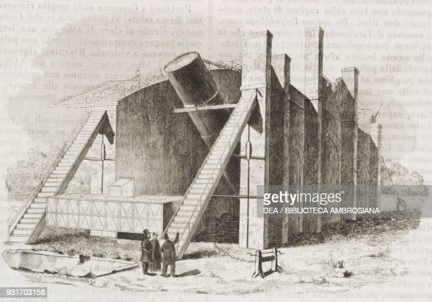 Leviathan Parsonstown the Earl of Rosse's telescope at Birr castle Ireland engraving from L'album giornale letterario e di belle arti June 7 Year 12