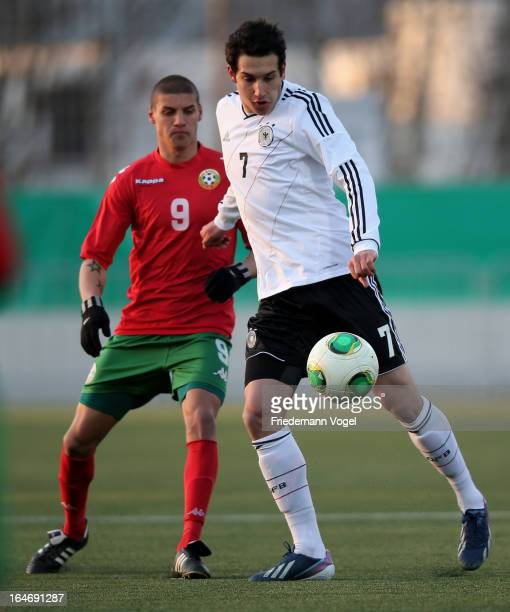 Levin Mete Oetzuntali of Germany and Kiril Valentinov Despodov of Bulgaria battle for the ball during the UEFA Under17 Elite Round match between...