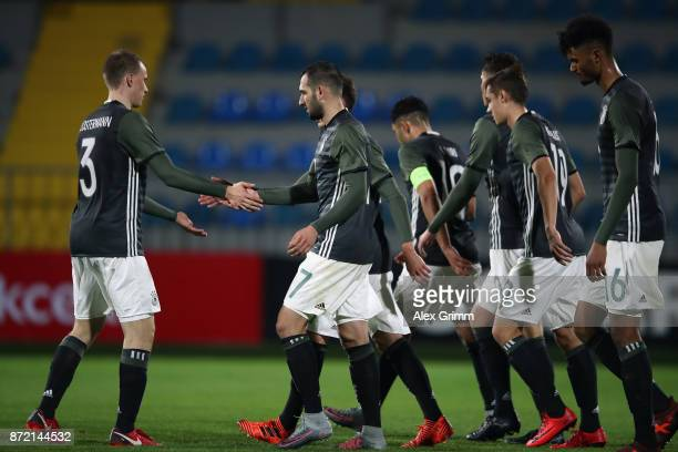 Levin Oeztunali of Germany celebrates his team's seventh goal with team mates during the UEFA Under21 Euro 2019 Qualifier match between Azerbaijan...