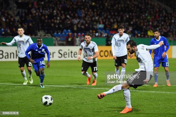Levin Oeztunali of Germany scores his team's third goal from the penalty spot during the 2019 UEFA Under21 European Championship qualifier match...