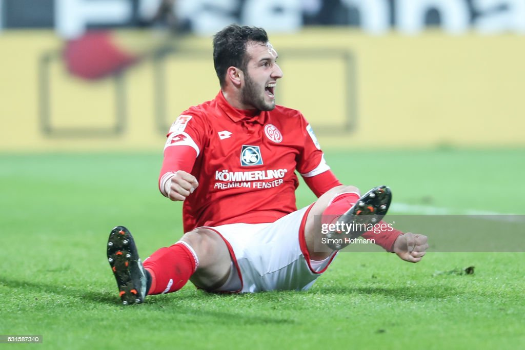 Levin Oeztunali of Mainz celebrates his team's first goal during the Bundesliga match between 1. FSV Mainz 05 and FC Augsburg at Opel Arena on February 10, 2017 in Mainz, Germany.