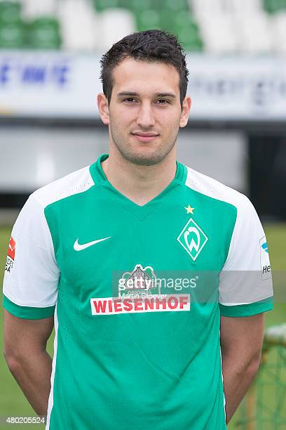 Levin Oeztunali poses during the official team presentation of Werder Bremen at Weserstadion on July 10 2015 in Bremen Germany