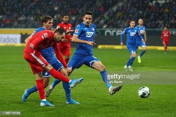 Levin Oztunali of 1. FSV Mainz 05 scores his team's first goal during the Bundesliga match between TSG 1899 Hoffenheim and 1. FSV Mainz 05 at...