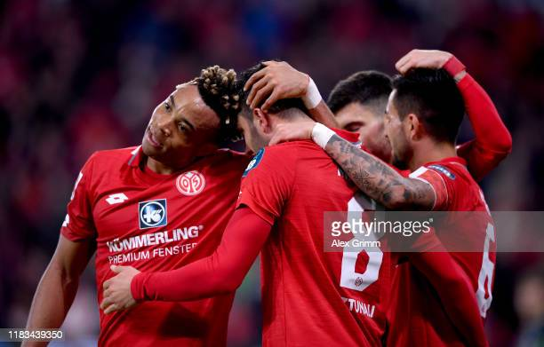 Levin Öztunali of 1FSV Mainz 05 celebrates after the third goal during the Bundesliga match between 1 FSV Mainz 05 and 1 FC Koeln at Opel Arena on...