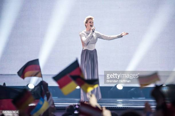 Levina the contestant from Germany performs at the Eurovision Grand Final on May 13 2017 in Kiev Ukraine Ukraine is the 62nd host of the annual...