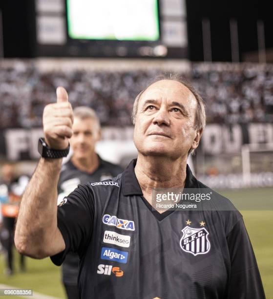 Levir Culpi headcoach of Santos before the match between Santos and Palmeiras as a part of Campeonato Brasileiro 2017 at Vila Belmiro Stadium on June...