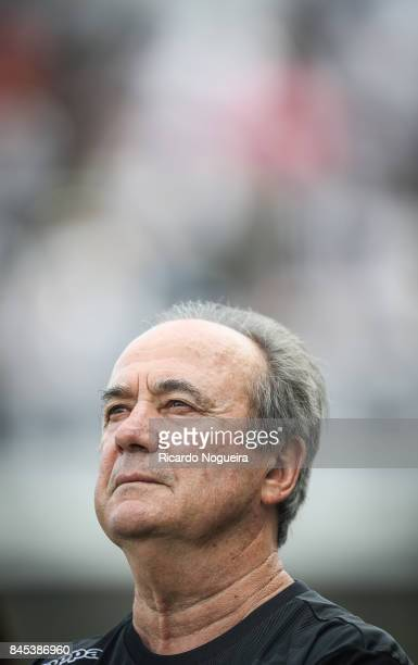 Levir Culpi headcoach of Santos during the national anthem before the match between Santos and Corinthians as a part of Campeonato Brasileiro 2017 at...