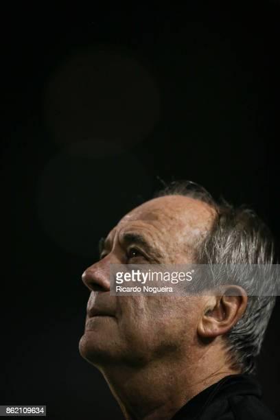 Levir Culpi headcoach of Santos during the national anthem prior before the match between Santos and Vitoria as a part of Campeonato Brasileiro 2017...