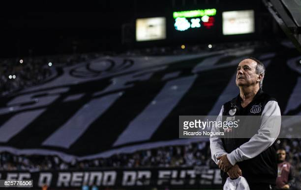 Levir Culpi headcoach of Santos looks on during the national anhtem prior before the match between Santos and Flamengo as a part of Campeonato...
