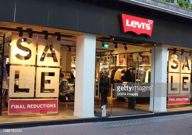 Levi's brand logo seen in Carnaby Street in London UK