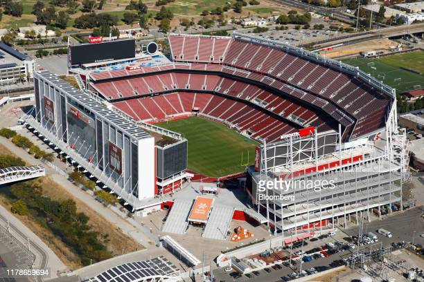 Levi's Stadium stands in this aerial photograph taken above Santa Clara, California, U.S., on Wednesday, Oct. 23, 2019. The San Francisco 49ers will...