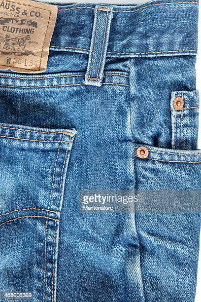 Levi's Strauss Blue Jeans (detail) on White