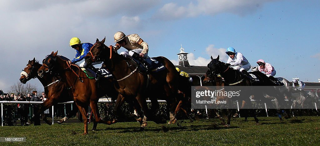 Levitate (no.21) ridden by Darren Egan holds off Global Village (no.9) ridden by Martin Lane to win the William Hill Lincoln (Heritage Handicap) (Class2) race at Doncaster Racecourse on March 30, 2013 in Doncaster, England.