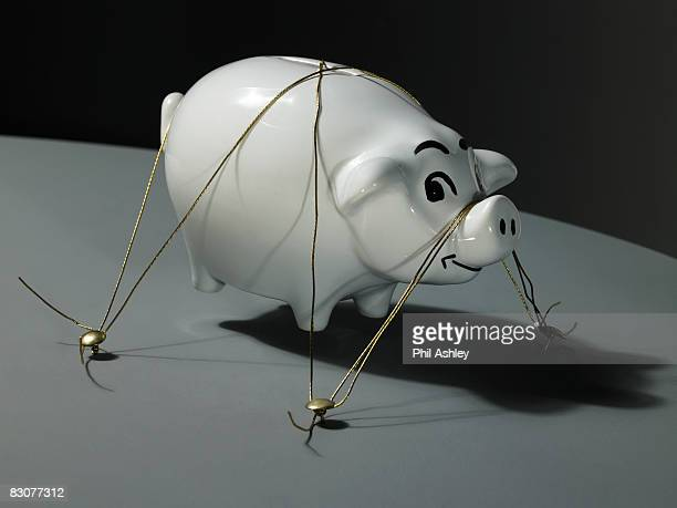 levitating piggy bank being held down wire