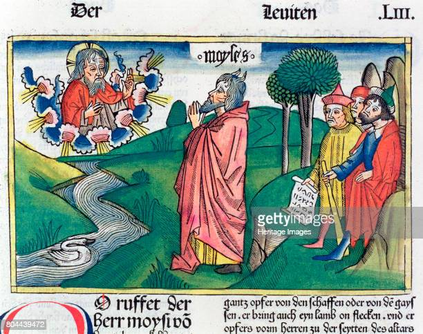The Law of Offerings. God dictating the Law to Moses on Mount Sinai. Facsimile copy of a 15th century manuscript of the German School. Artist Unknown.