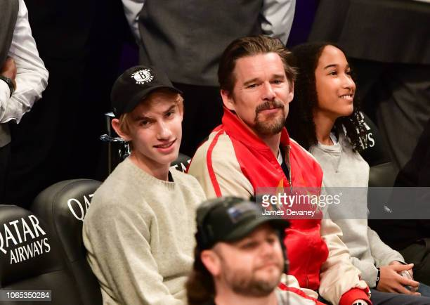 Levon Hawke and Ethan Hawke attend the Philadelphia 76ers vs Brooklyn Nets game at Barclays Center of Brooklyn on November 25 2018 in New York City