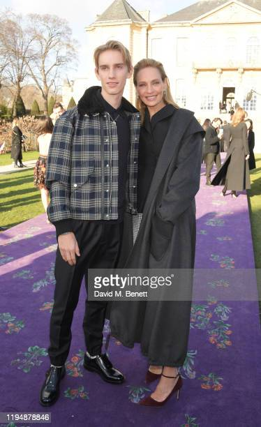 Levon Hawke and Uma Thurman attend the Dior Haute Couture Spring/Summer 2020 show as part of Paris Fashion Week at Musee Rodin on January 20 2020 in...