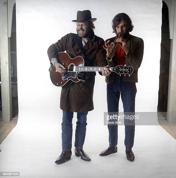 Levon Helm and Richard Manuel of the roots rock group The Band poses for a portrait in 1969 in Saugerties New York