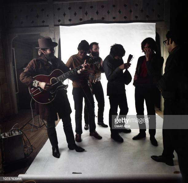 Levon Helm Robbie Robertson Garth Hudson Rick Danko and Richard Manuel of the roots rock group The Band pose for a portrait in 1969 in Saugerties New...