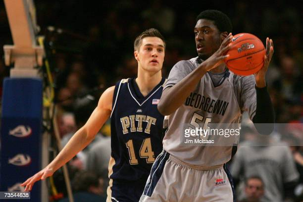 Levon Kendall of the Pittsburgh Panthers defends Roy Hibbert of the Georgetown Hoyas during the final of the Big East Championship at Madison Square...