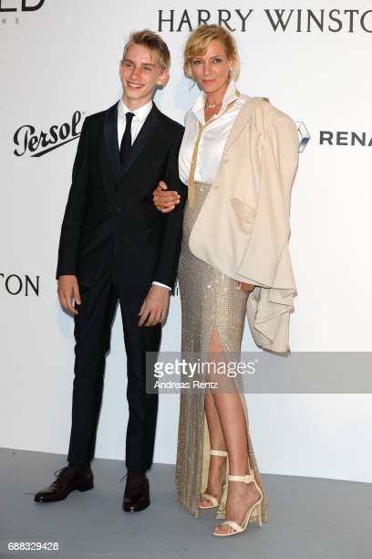 Levon Roan ThurmanHawke and actress Uma Thurman arrive at the amfAR Gala Cannes 2017 at Hotel du CapEdenRoc on May 25 2017 in Cap d'Antibes France
