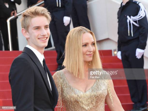 Levon Roan ThurmanHawke and his mother Uma Thurman attend the Closing Ceremony during the 70th annual Cannes Film Festival at Palais des Festivals on...