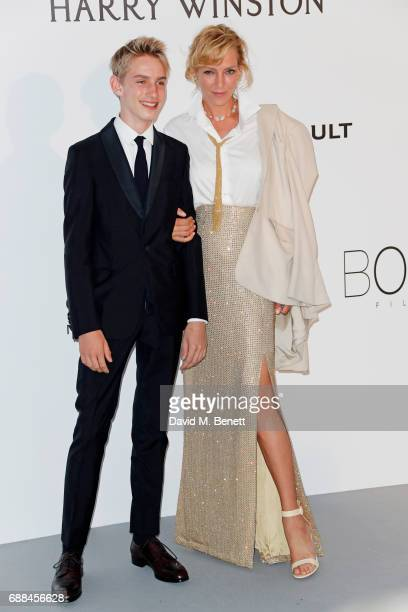 Levon Roan ThurmanHawke and Uma Thurman arrive at the amfAR Gala Cannes 2017 at Hotel du CapEdenRoc on May 25 2017 in Cap d'Antibes France