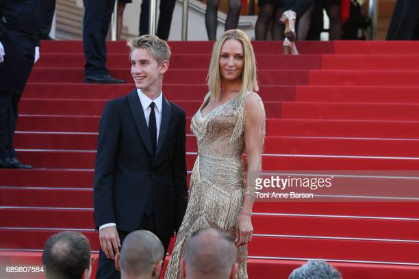 Levon Roan ThurmanHawke and Uma Thurman attend the Closing Ceremony during the 70th annual Cannes Film Festival at Palais des Festivals on May 28...