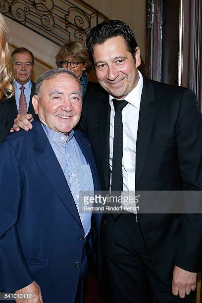 Levon Sayan and Laurent Jerra attend Levon Sayan receives Insignia of 'Commandeur de l'Ordre National du Merite' at Hotel d'Evreux on June 14 2016 in...