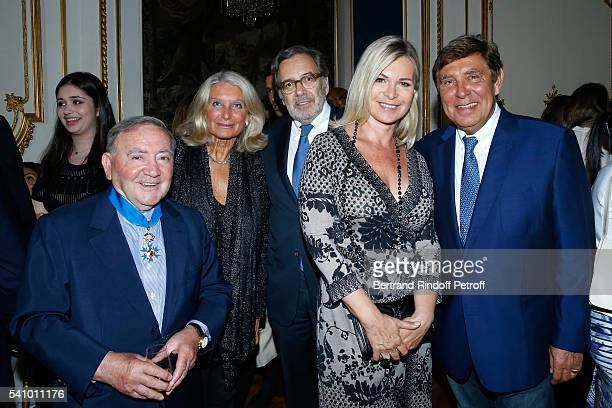 Levon Sayan Evelyn Jarre President of TF1 Nonce Paolini Catherine Falgayrac and JeanPierre Foucault attend Levon Sayan receives Insignia of...