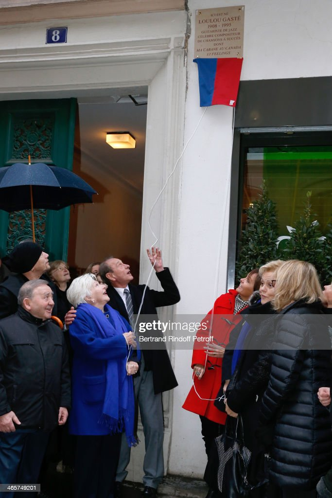Levon Sayan, singer Pascal Obispo, singer Line Renaud, Mayor of Paris Bertrand Delanoe, Mayor of 17th district of Paris Brigitte Kuster, humorist Muriel Robin and Claude Chirac attend the Tribute to Loulou Gaste' with a Commemorative Tablet on the wall of the house where he was born the March 18 of 1908, 8 Saint-Ferdinand street in Paris. January 29, 2014 in Paris, France.