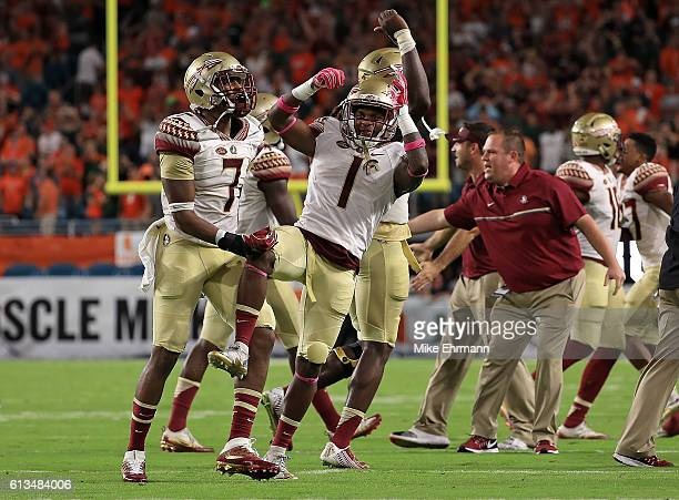 Levonta Taylor of the Florida State Seminoles celebrates after a blocked extra point during a game against the Miami Hurricanes at Hard Rock Stadium...