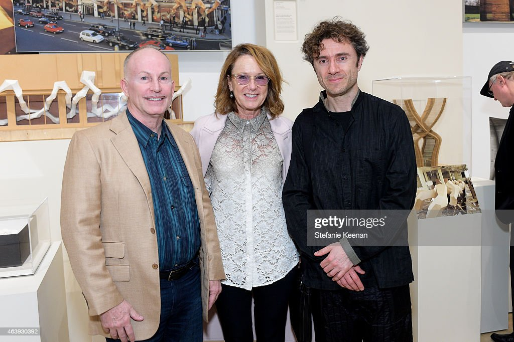 Lew Baskerville, Ann Philbin and Thomas Heatherwick attend Hammer Museum's Provocations Presented In Partnership With Burberry - Members' Opening on February 19, 2015 in Los Angeles, California.
