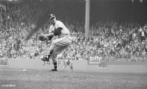 Lew Burdette of the Milwaukee Braves pitching during 7th and final game of 1957 World Series
