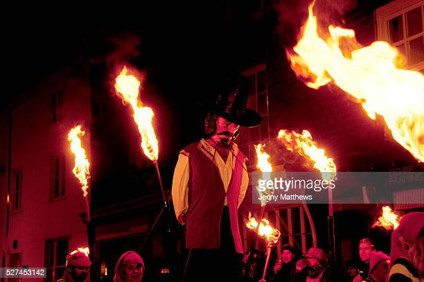 Lewes Sussex Bonfire Night November 5th 2013 An effigy of Guy Fawkes who plotted to blow up Parliament is paraded around the town with people holding...