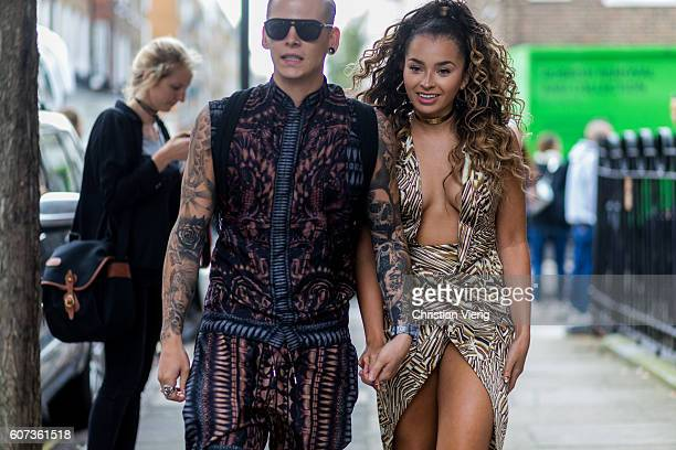 Lewi Morgan and Ella Eyre outside of Julien Macdonald during London Fashion Week Spring/Summer collections 2017 on September 17 2016 in London United...