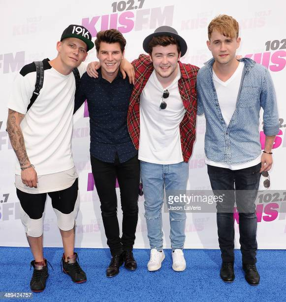 Lewi Morgan Charley Bagnall Jake Roche and Danny Wilkin of the band Rixton attend 1027 KIIS FM's 2014 Wango Tango at StubHub Center on May 10 2014 in...