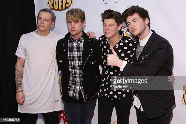 Lewi Morgan, Danny Wilkin, Charley Bagnall and Jake Roche of Rixton attend Z100's Jingle Ball at Madison Square Garden on December 12, 2014 in New...