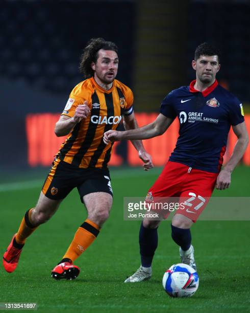 Lewie Coyle of Hull City and Jordan Jones of Sunderland seen during the Sky Bet League One match between Hull City and Sunderland at KCOM Stadium on...