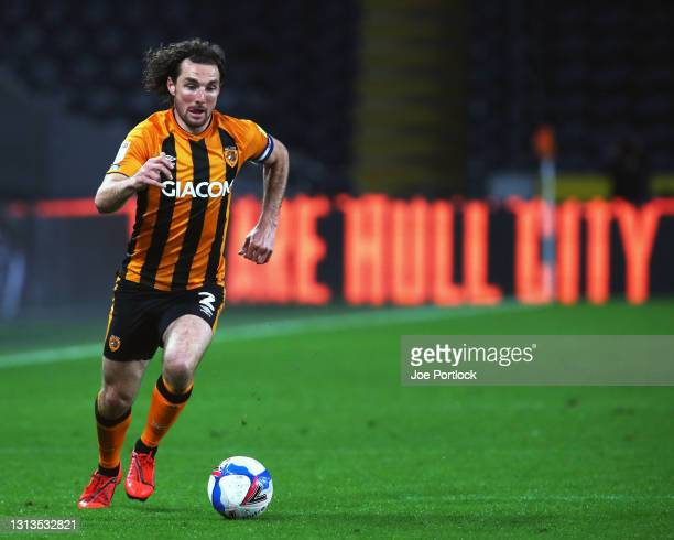 Lewie Coyle of Hull City during the Sky Bet League One match between Hull City and Sunderland at KCOM Stadium on April 20, 2021 in Hull, England....