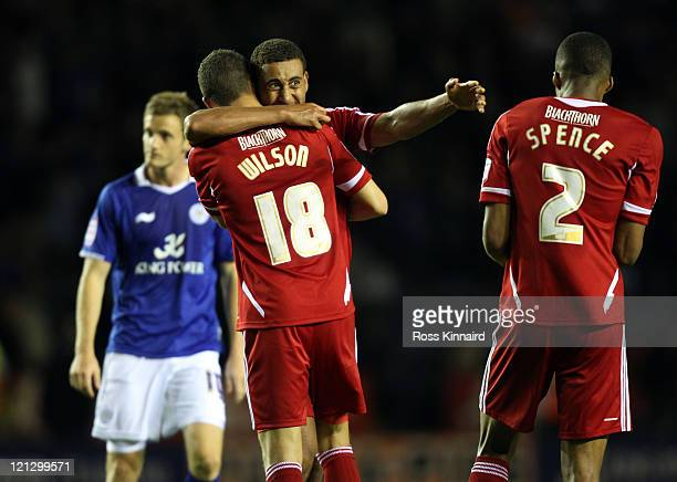 Lewin Nyatanga and James Wilson of Bristol celebrate after the npower Championship match between Leicester City and Bristol City at The King Power...