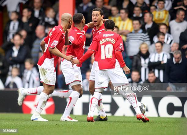 Lewin Nyatanga of Bristol City celebrates scoring the first goal during the Coca Cola Championship match between Bristol City and Newcastle United at...